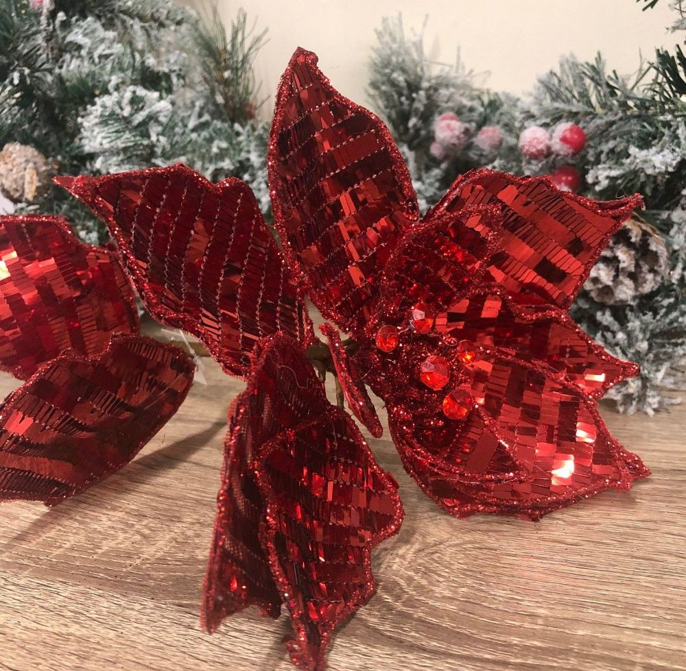 Ruby Red Sequin Poinsettia Artificial Flower 67 cm
